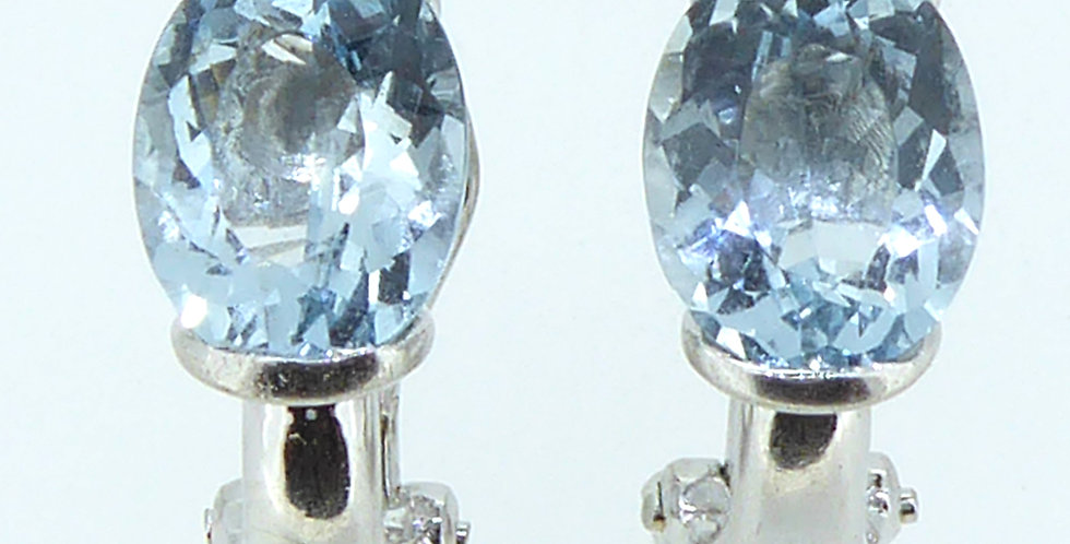 Pre-owned Oval Faceted Aquamarine Earrings, 14ct White Gold
