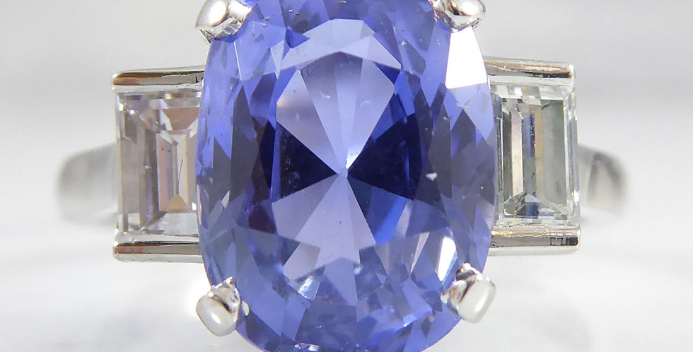 3.92 Carat Sapphire and Diamond Three Stone Ring, Platinum Band