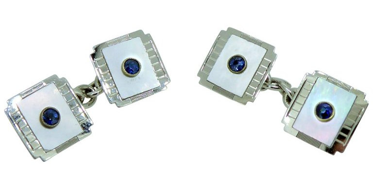 Art Deco Sapphire and Mother of Pearl Cufflinks, White Gold, circa 1920s