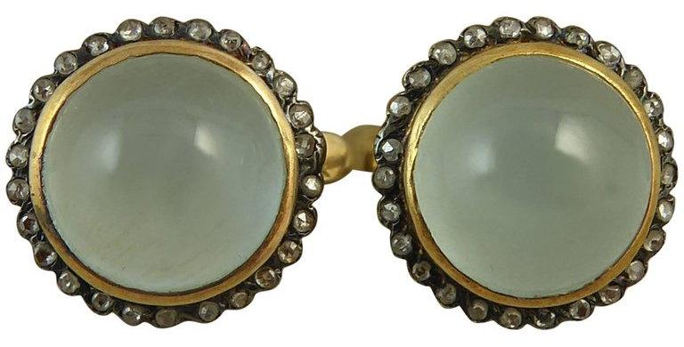 1950's Earrings, 11.0 Carat Aquamarine, Rose Cut Diamonds, Gold and Silver