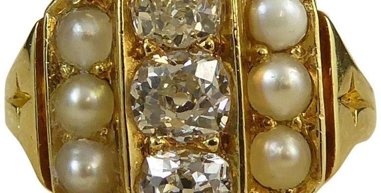 Antique Diamond Pearl Ring, 0.72 Carat, circa 1900-1910