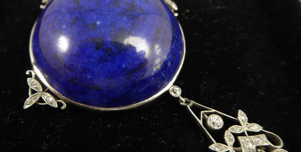 Antique Edwardian  Brooch set with  Lapis Lazuli and Diamond