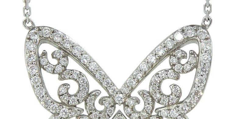 Messika Paris Diamond Butterfly Necklace, Diamond Set Chain, White Gold