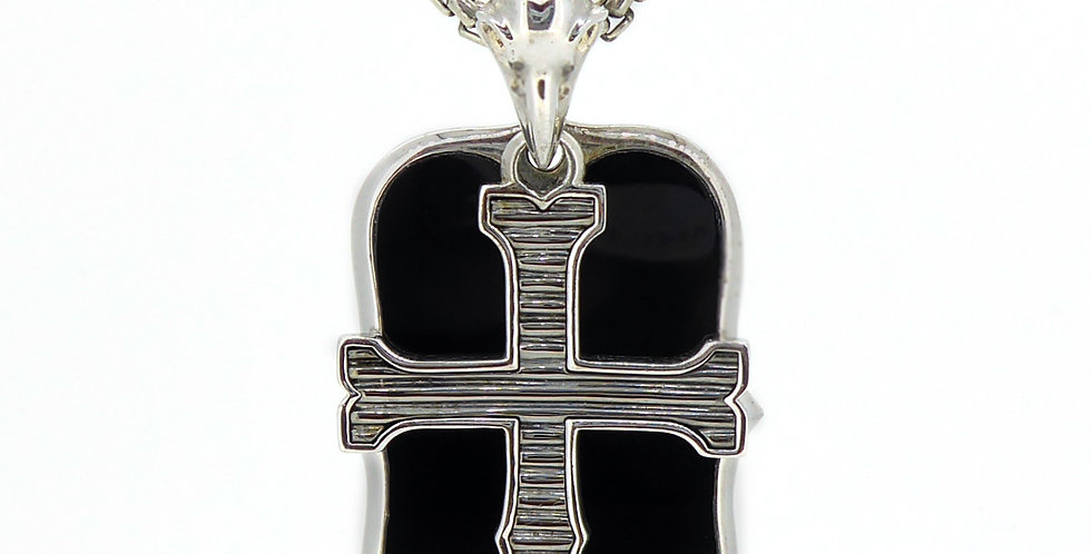 Stephen Webster London Calling Silver and Onyx Dog Tag Necklace