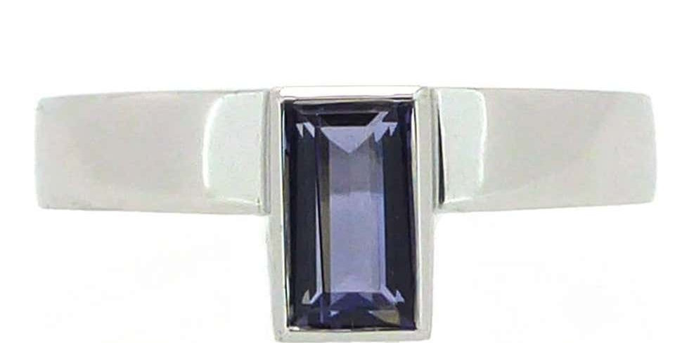 Contemporary Iolite solitaire dress ring, white gold front view