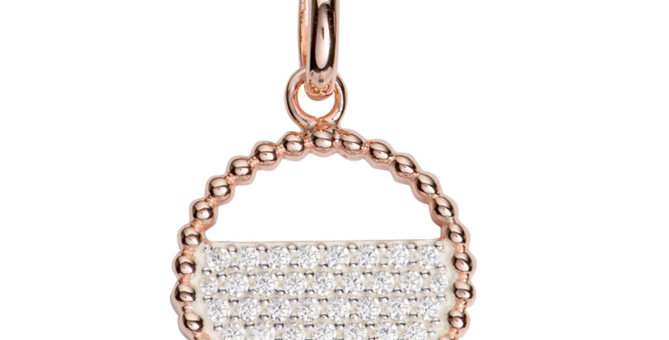 Contemporary Rose Gold Colour Silver Pendant with Cubic Zirconia Accent
