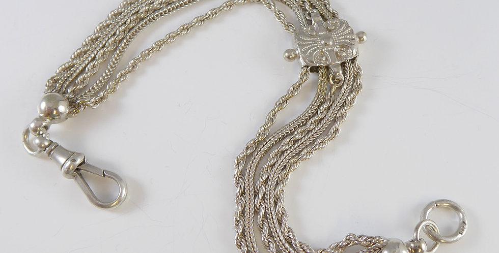 Victorian Silver Albertina Watch Chain, Circa 1890s