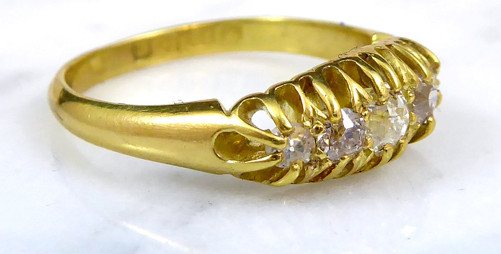 Edwardian engagement ring with old cut diamonds