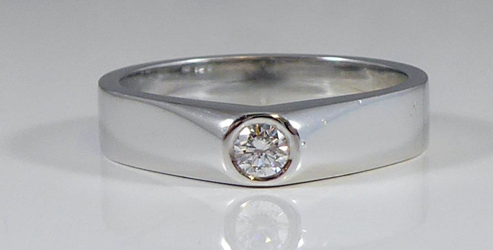 Contemporary Diamond Engagement Ring, Brilliant Cut Diamond Solitaire