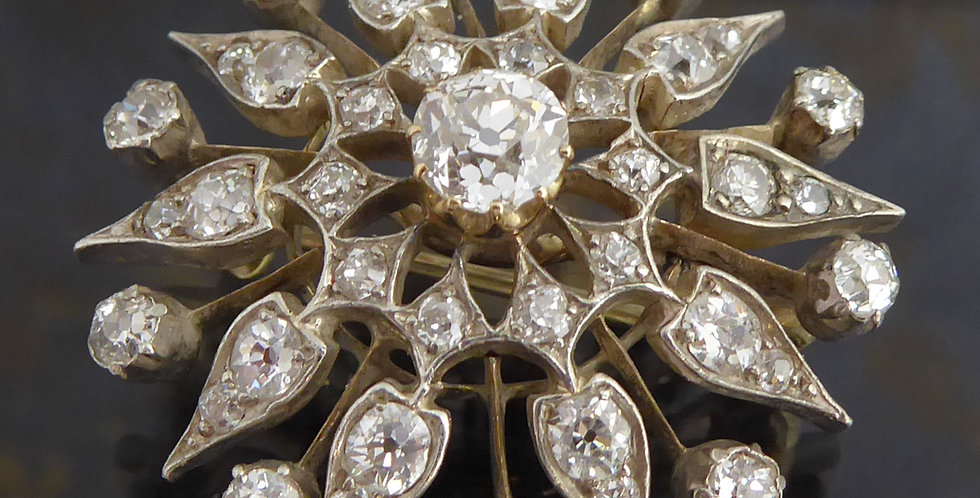 Victorian Old European Cut Diamond Brooch, Victorian Era