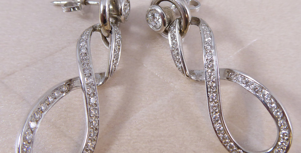 Diamond Earrings, 1.08ct, Twisted Loop Drop - NEW & UNWORN
