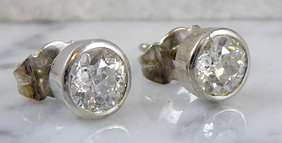 1.50 Carat Old Cut Diamond Earrings, 18 Carat Gold Settings, Solitaire Style
