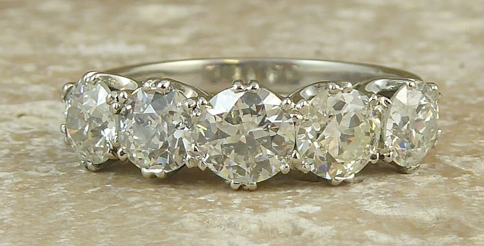 2.65ct Old Cut Diamond Five Stone Ring