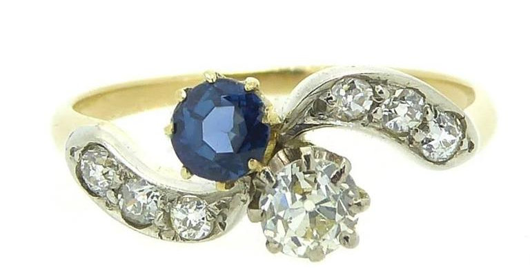 Vintage sapphire and diamond ring with diamond shoulders