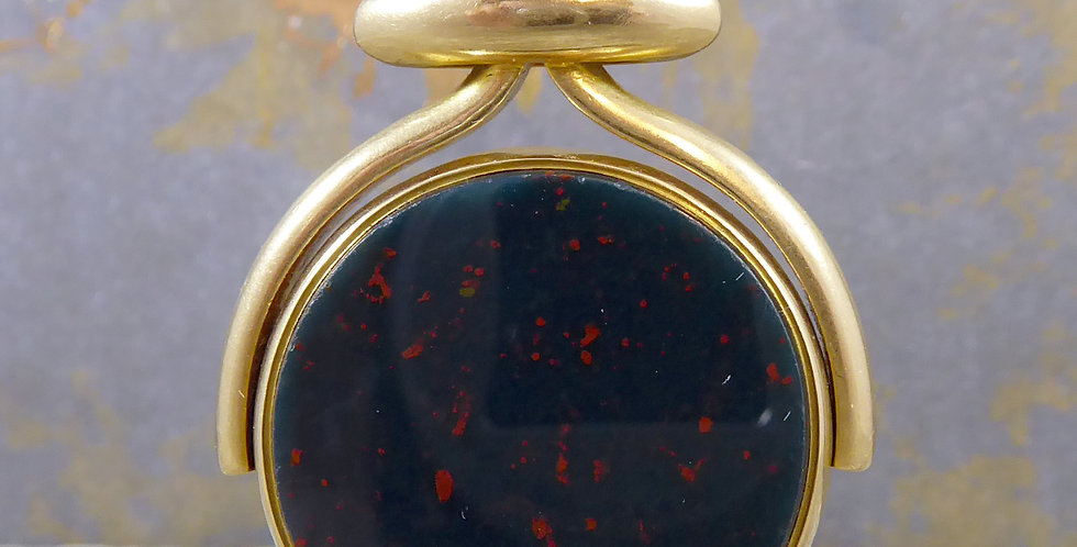 Antique watch albert spinner fob with bloodstone