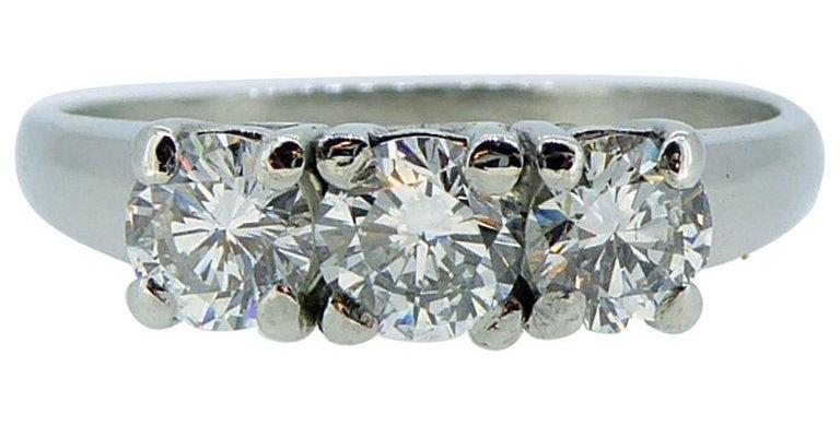 1.0 Carat Three Stone Diamond Ring, Platinum Band, Pre-owned