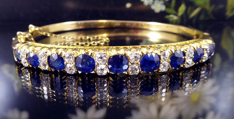 Antique Sapphire and Diamond Gold Bangle, Circa 1900s