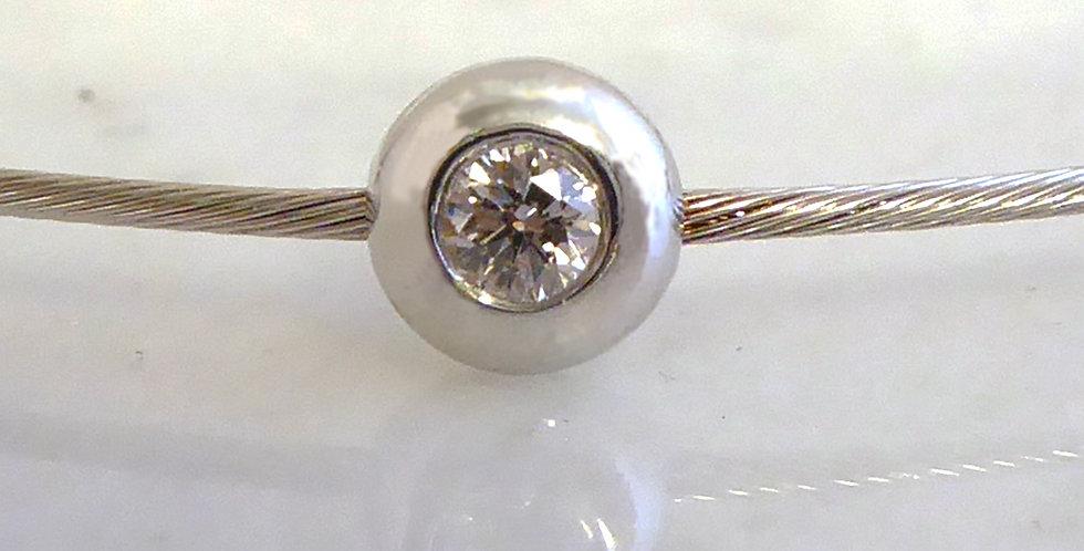 Diamond Bangle, Five Brilliant Cut Diamonds in White Gold, Cable Style Bracelet