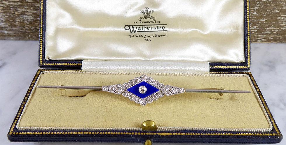 Art Deco diamond brooch shown in an antique brooch jewellery box