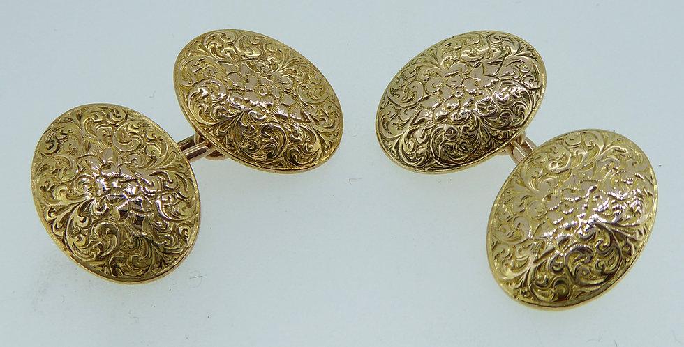 Antique Victorian Gold Cufflinks, 15 Carat, Hallmarked London 1885