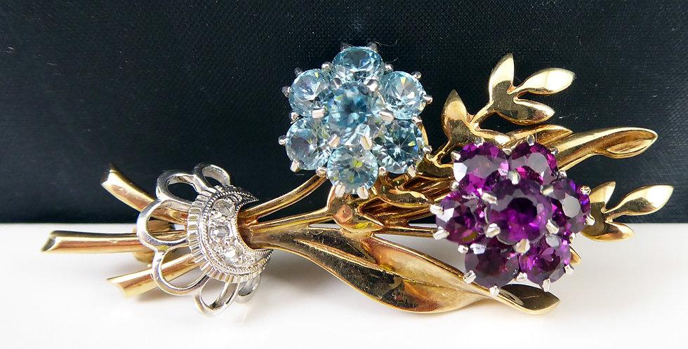 Vintage Brooch with Rose Cut Diamonds, Almandine Garnet & Blue Zircon