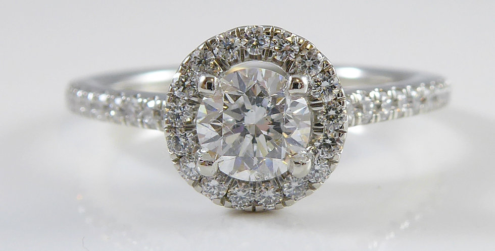 D colour 0.46ct Diamond Halo Ring in 18ct white gold