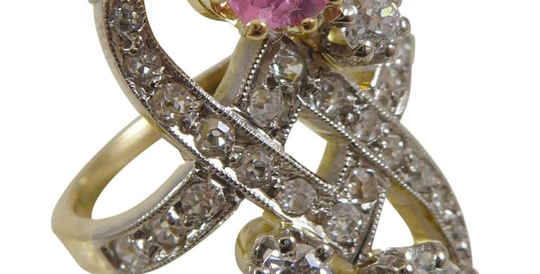 Vintage French Pink Tourmaline and Diamond Ring