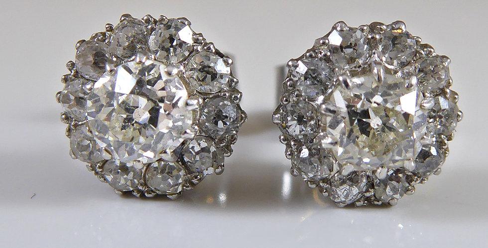 1.13 Carat Vintage Diamond Earrings in White Cluster Head Settings