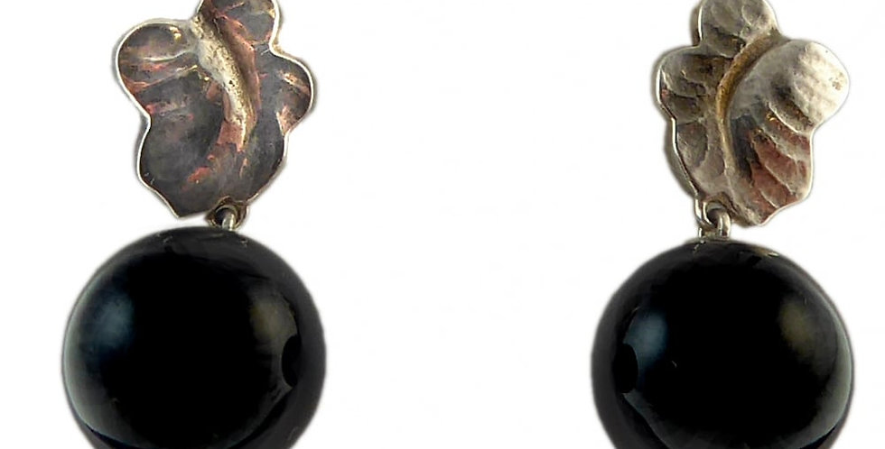 George Jensen Moonlight Grapes Silver & Onyx Drop Earrings