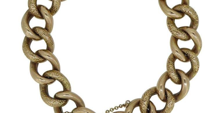 Edwardian Engraved Curb Bracelet, Heavy Gauge Rose Gold Links, Padlock Fastener