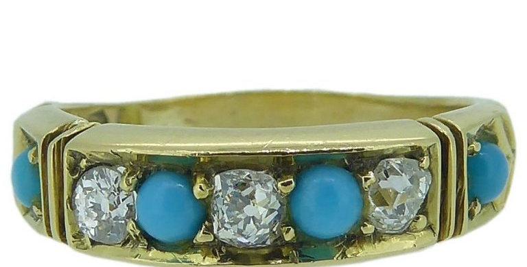 Victorian Diamond and Turquoise Keeper Ring, Hallmarked Birmingham, 1871