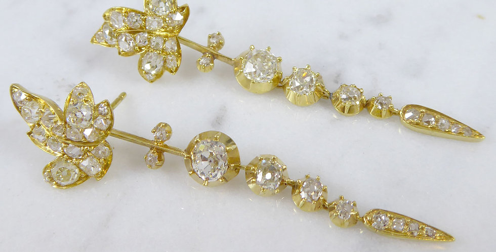 """Antique Victorian Diamond """"Day and Night"""" Earrings in Yellow Gold"""