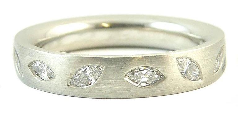 Marquise Diamond Wedding Eternity Ring, Platinum Band, UK Award Winning Designer