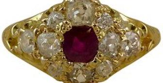 Edwardian Ruby Diamond Cluster Ring, Yellow Gold, circa 1900-1910