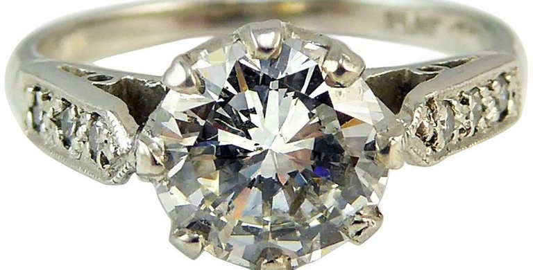 Vintage Old Cut Diamond Ring, 1.06ct Solitaire, Diamond Set Pointed Shoulders