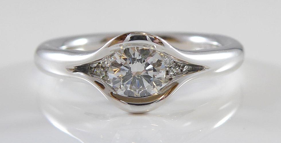 Contemporary Diamond Engagement Ring, Solitaire Diamond