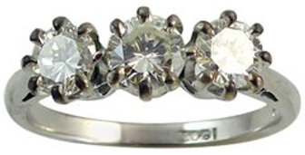 Vintage Three Stone  0.82ct Diamond Engagement Ring,18ct White Gold