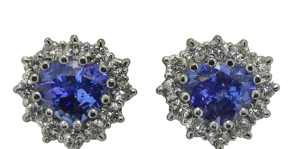 Vintage Earrings, Tanzanite and Diamond Studs, White Gold
