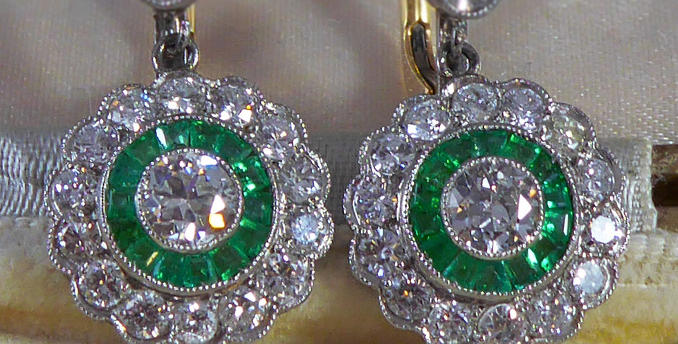 Antique Victorian Style Emerald and Diamond Drop Earrings