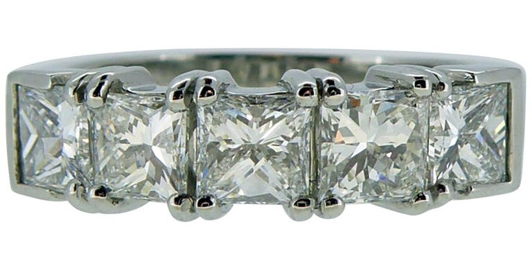 Modern 1.81 Carat Diamond Five Stone Ring, Princess Cut Diamonds, Platinum Band