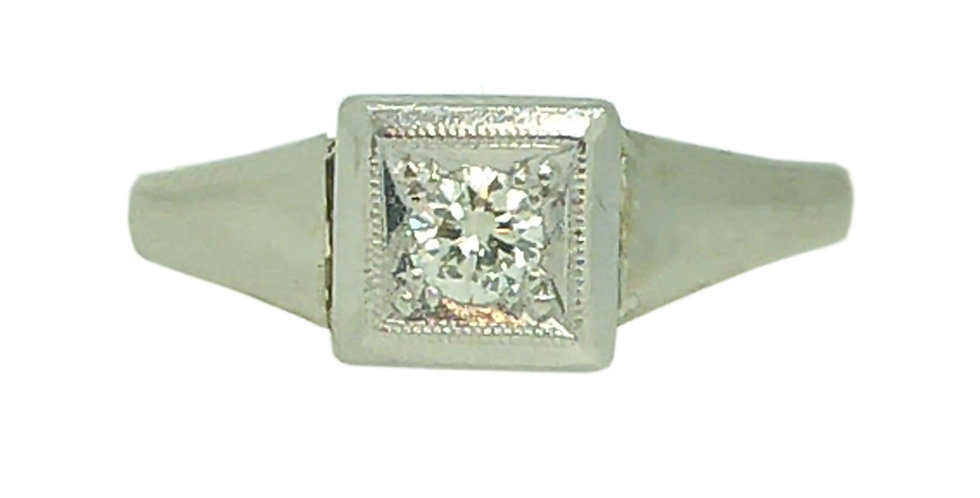 Art Deco Diamond Solitaire Engagement Ring in Platinum and Gold