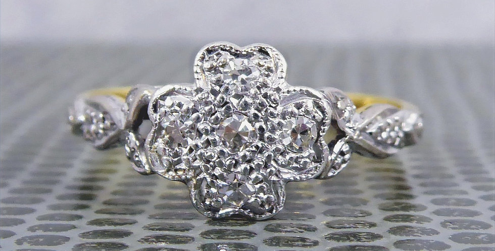 1930's/40's Vintage Diamond Ring in Flower Cluster Design, Marked 18ct & Plat