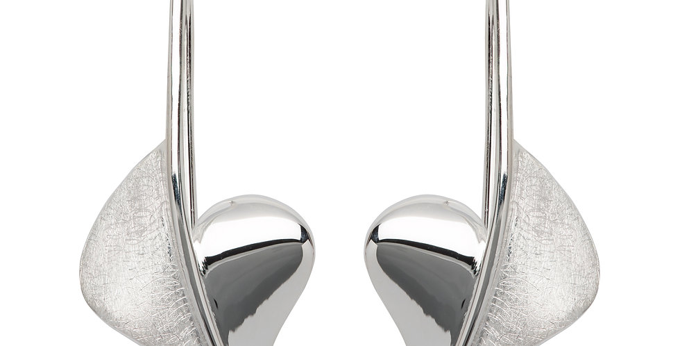 Silver Drop Earrings in a Contemporary Style with Silver Wire Fitting