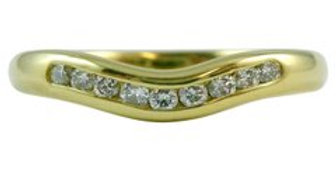 Vintage Diamond Set Curved Ring in 18ct Yellow Gold, Curved for Engagement Ring
