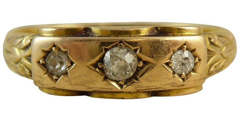 Antique Victorian Diamond 3 Stone Ring, 18ct Yellow Gold, Circa 1890s