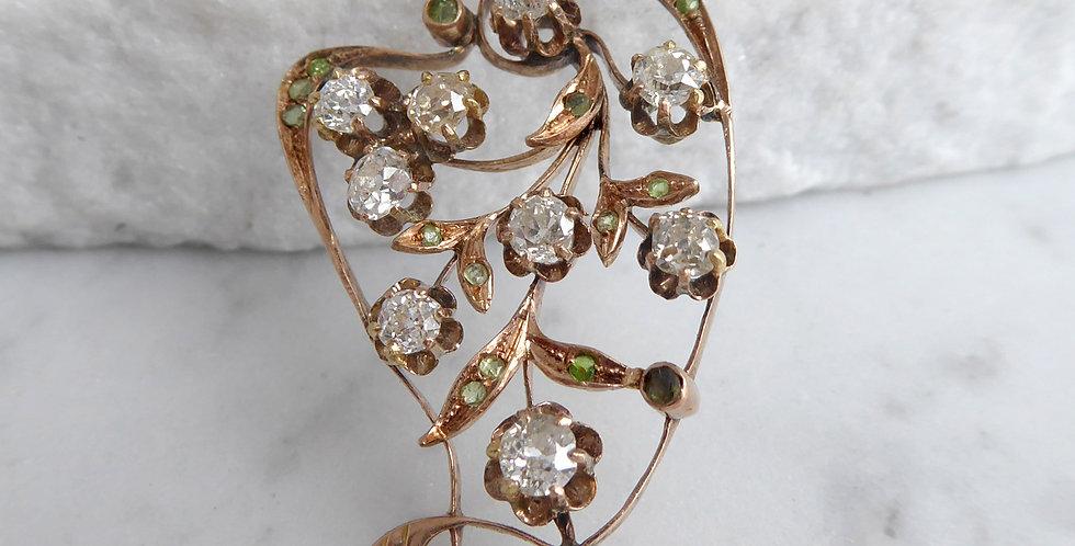 Early 20th Century Russian 2.0 Carat Diamond and Demantoid Garnet Pendant