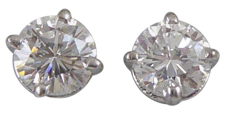 Diamond Stud Earrings, 0.61 Carat GIA Certified E Colour, Classic Style
