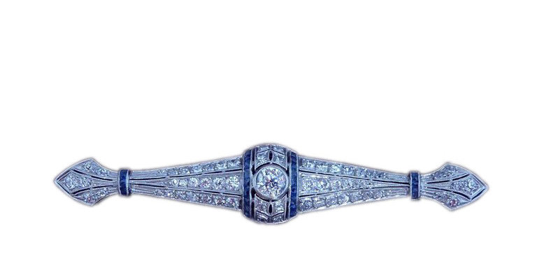 Edwardian 1.73 Carat Old European Cut Diamond and French Cut Sapphire Brooch