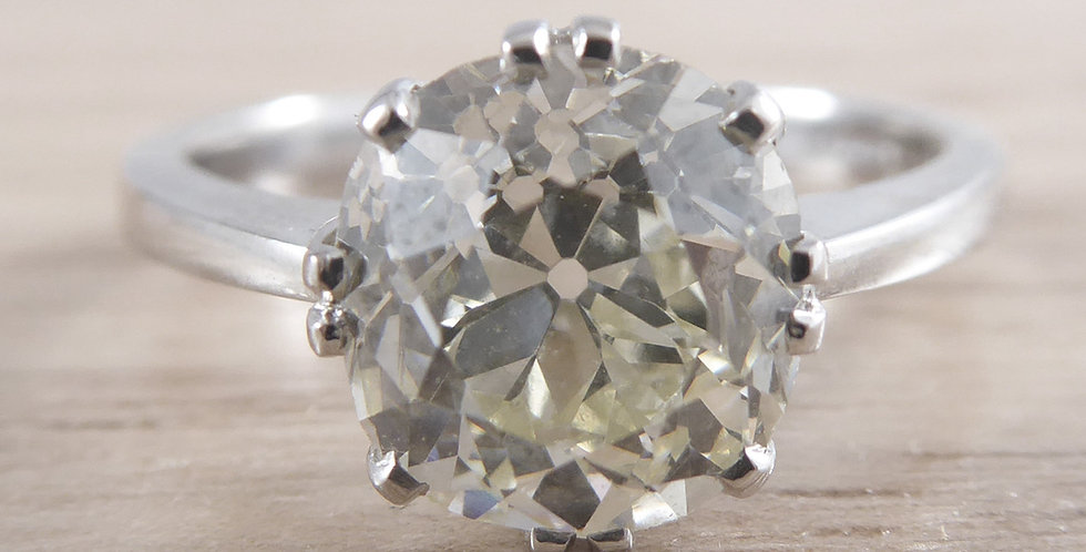 Antique Old European Cut Diamond Ring, Cusion-Shaped Diamond, Solitaire Setting