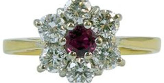 Vintage Ruby and Diamond Engagement Ring, 18ct Gold, Classic Cluster Style